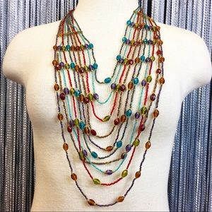 Jewelry - Multi-strand Rainbow Boho Necklace